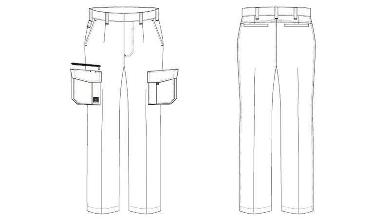 アイトス AZ30451 クールドライ カーゴパンツ(ワンタック) 春夏 ハンガーイラスト・線画