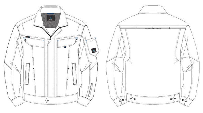 アイトス AZ30530 ペンタスストレッチ 長袖ブルゾン(男女兼用) ハンガーイラスト・線画