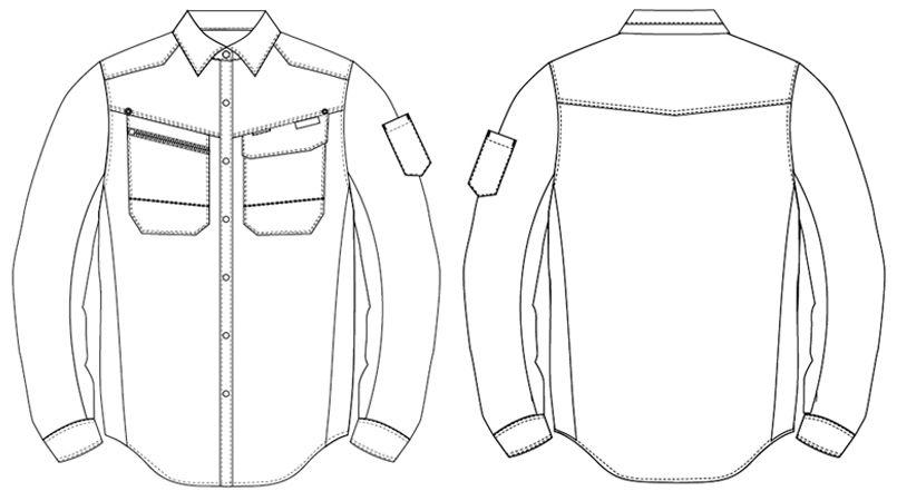 アイトス AZ30635 AZITOヘリンボーン シャツ/長袖 ハンガーイラスト・線画