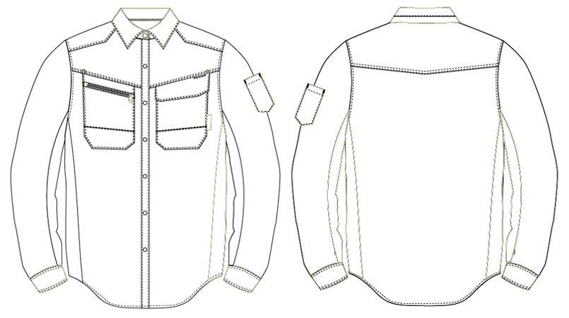 AZ30645 アイトス AZITOヘリンボーン レディースシャツ/長袖(女性用) ハンガーイラスト・線画