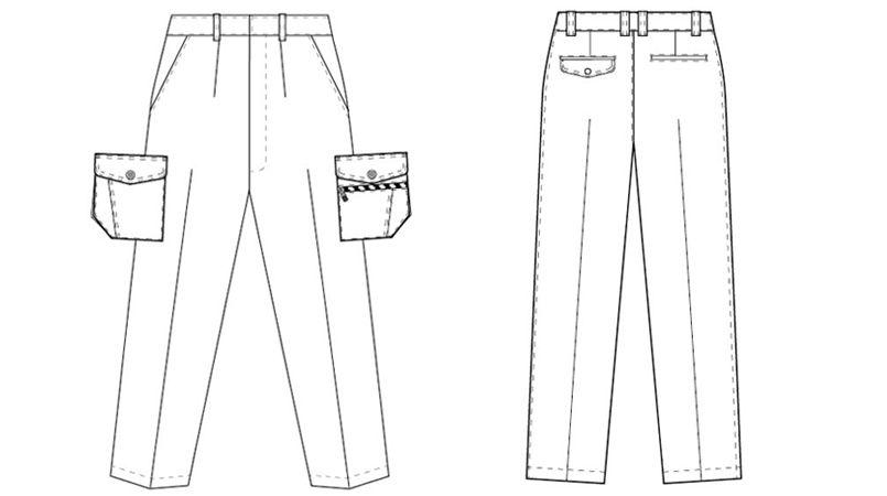 アイトス AZ3221 帯電防止ツイルカーゴパンツ(1タック) ハンガーイラスト・線画