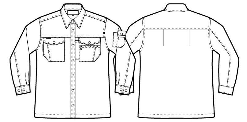アイトス AZ3235 スタンダード 帯電防止ライトツイルシャツ/長袖 ハンガーイラスト・線画