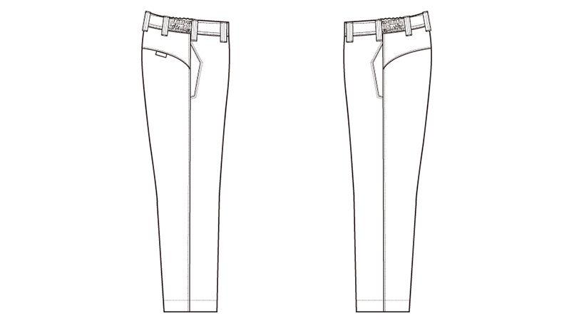 AZ3620 アイトス ノーポケット シャーリングパンツ(ノータック)(男女兼用) ハンガーイラスト・線画