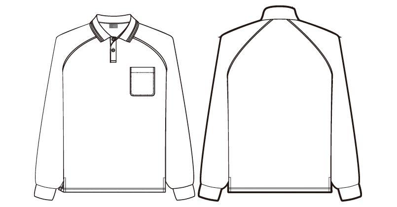 AZ50010 アイトス 長袖ドライポロシャツ(男女兼用) ハンガーイラスト・線画