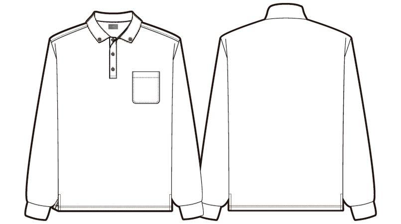 AZ50012 アイトス 長袖ドライポロシャツ(男女兼用) ハンガーイラスト・線画