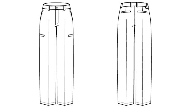 AZ50502 アイトス スタイリッシュカーゴパンツ(男女兼用) ハンガーイラスト・線画
