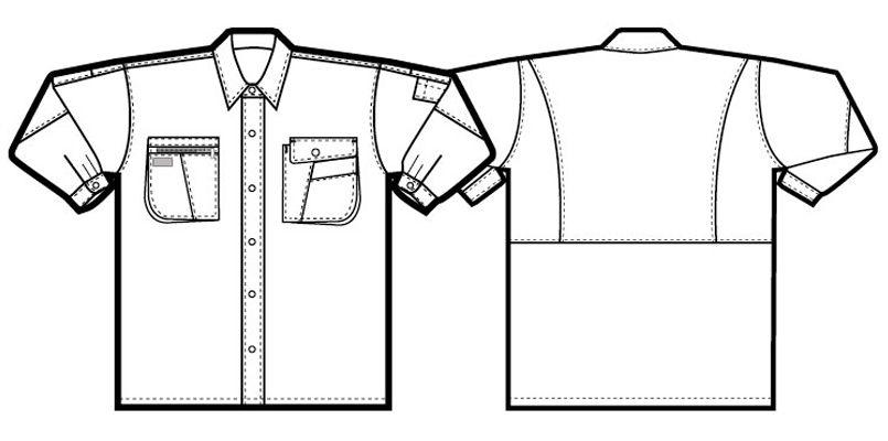 アイトス AZ5325 ムービンカット シャツ/長袖(薄地) ハンガーイラスト・線画