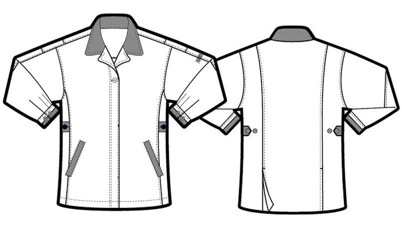 アイトス AZ5327 レディースムービンカット 長袖サマースモック ハンガーイラスト・線画