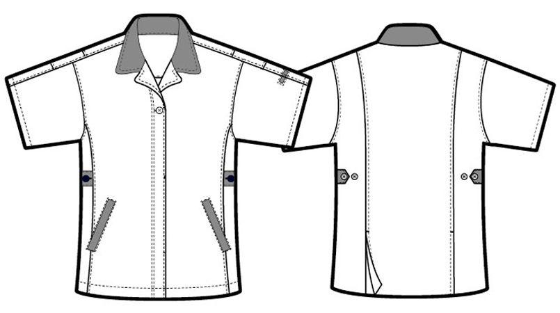 アイトス AZ5328 レディースムービンカット 半袖スモック ハンガーイラスト・線画