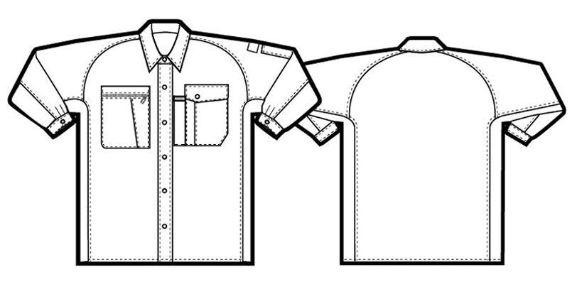 アイトス AZ5365 エコワーカークール シャツ/長袖(薄地) ハンガーイラスト・線画