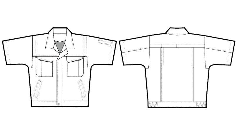 アイトス AZ5551 エコサマー裏綿 半袖サマーブルゾン ハンガーイラスト・線画