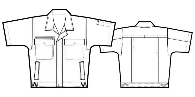 アイトス AZ5561 エコサマー裏綿 半袖サマーブルゾン ハンガーイラスト・線画