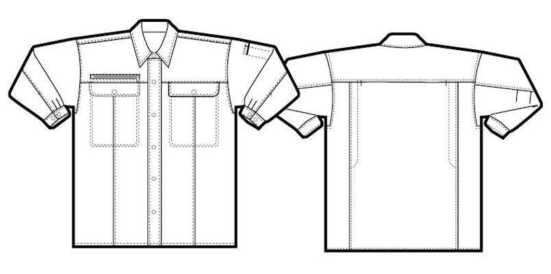 アイトス AZ5565 エコ裏綿A・B シャツ/長袖(薄地) ハンガーイラスト・線画