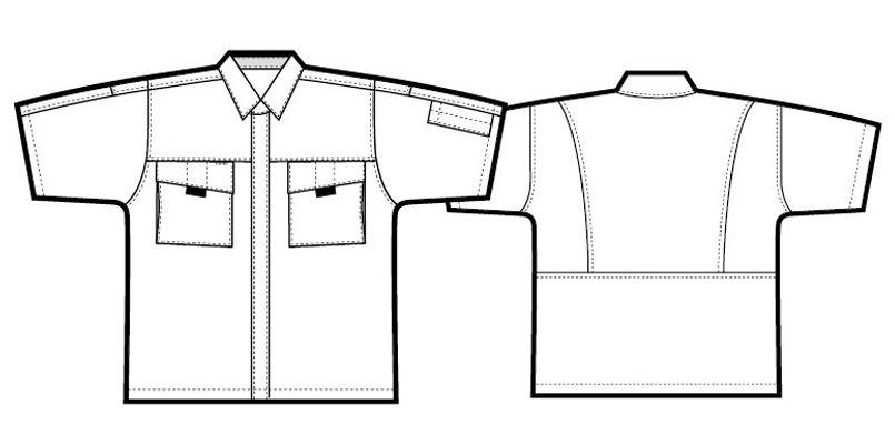 AZ5576 アイトス ムービンカットEX シャツ/半袖 ハンガーイラスト・線画