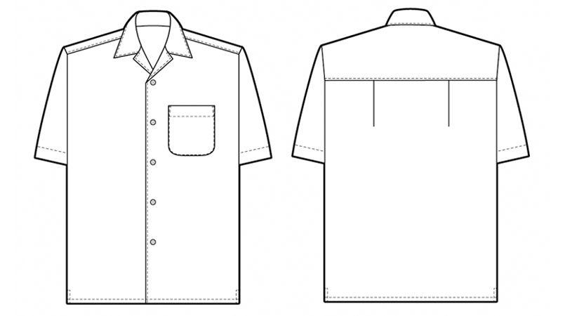 AZ56102 アイトス アロハシャツ(ハイビスカス柄)(男女兼用) ハンガーイラスト・線画