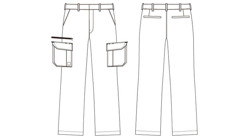 AZ60321 アイトス ストレッチカーゴパンツ(ノータック)(男女兼用) ハンガーイラスト・線画