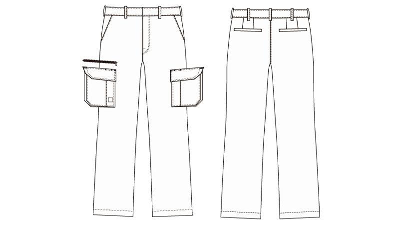 AZ60521 アイトス カーゴパンツ(ノータック)(男女兼用) ハンガーイラスト・線画