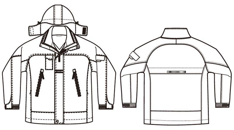 アイトス AZ6060 寒冷地対応 光電子 防風防寒着コート ハンガーイラスト・線画
