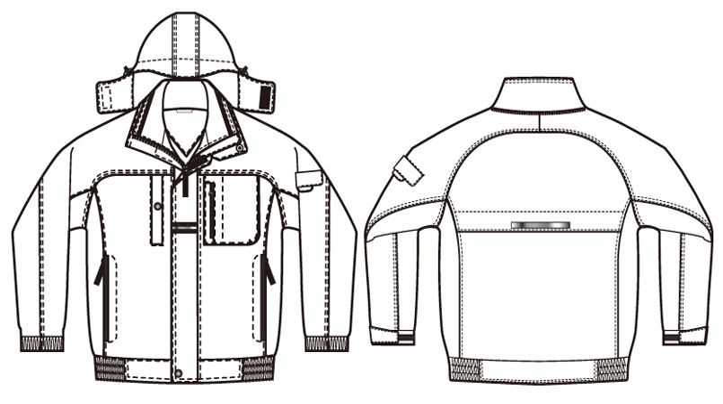 AZ6061 アイトス 寒冷地対応 光電子 防風防寒着ブルゾン ハンガーイラスト・線画