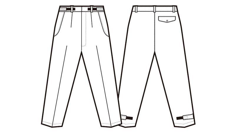 AZ6162 アイトス 光電子 軽量 防水防寒パンツ ハンガーイラスト・線画