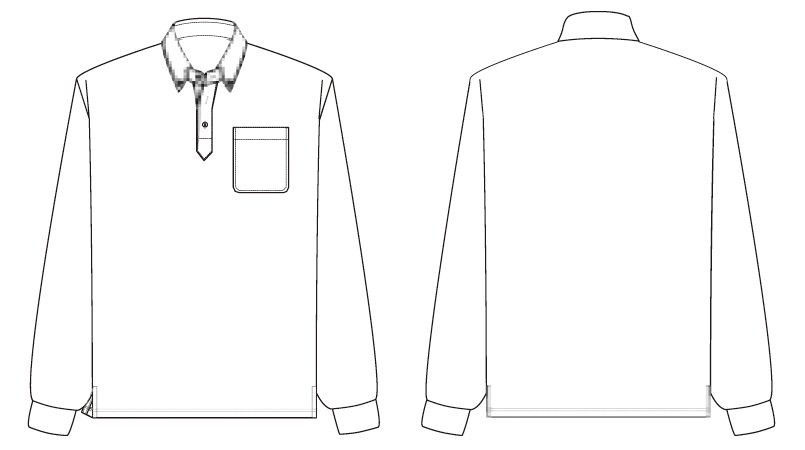 AZ7617 アイトス ボタンダウン 半袖ポロシャツ(男女兼用) ハンガーイラスト・線画