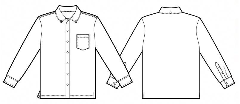 AZ7853 アイトス 長袖ニットボタンダウンシャツ(男女兼用) ハンガーイラスト・線画