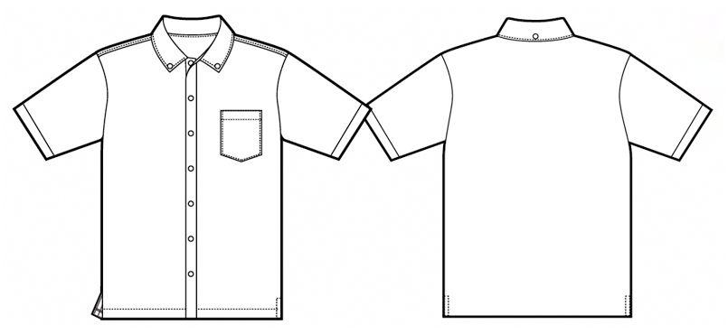 AZ7854 アイトス 半袖ニットボタンダウンシャツ ハンガーイラスト・線画