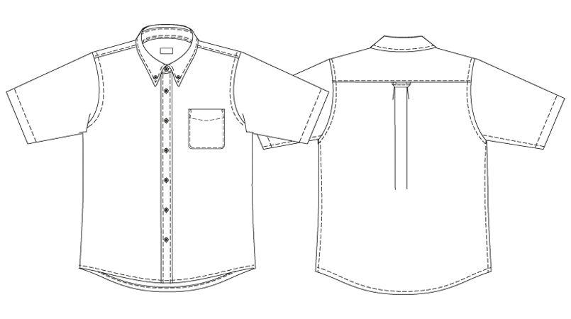 AZ7872 アイトス オックスボタンダウンシャツ/半袖(男性用) ハンガーイラスト・線画