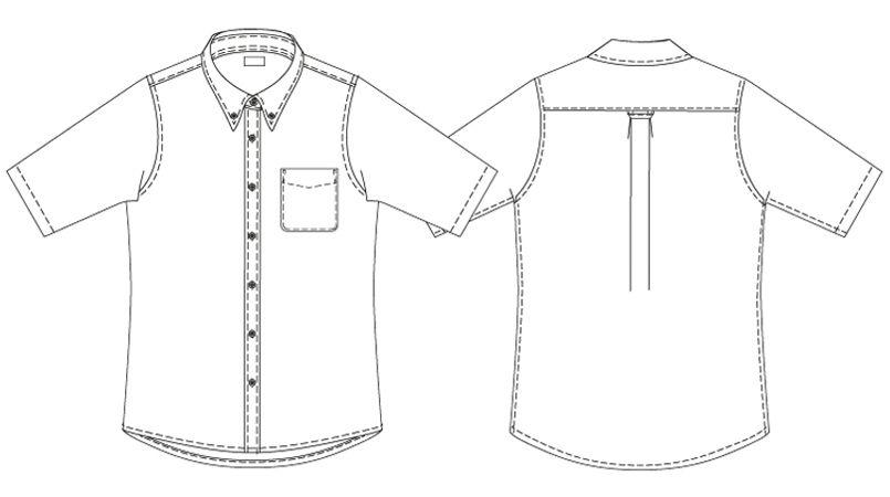 AZ7873 アイトス オックスボタンダウンシャツ/半袖(女性用) ハンガーイラスト・線画