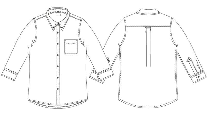 AZ7875 アイトス オックスボタンダウンシャツ/七分袖(女性用) ハンガーイラスト・線画