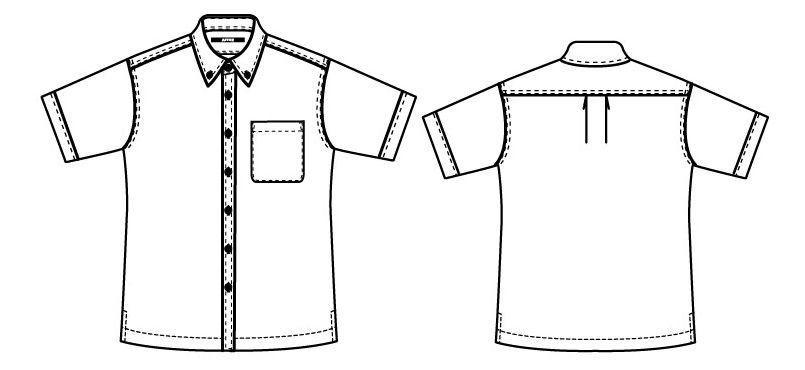[在庫限り/返品交換不可]AZ8054 アイトス 半袖ボタンダウンシャツ(男女兼用) ハンガーイラスト・線画