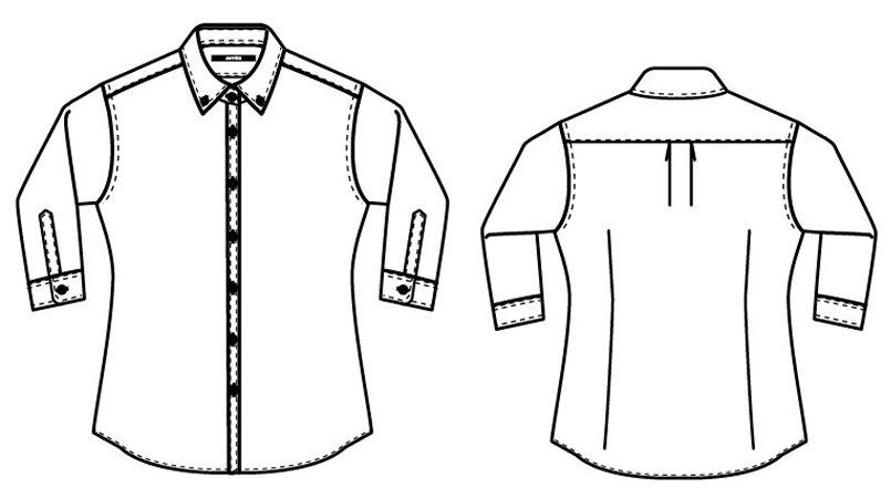 AZ8057 アイトス シャツ/七分袖(女性用) ハンガーイラスト・線画