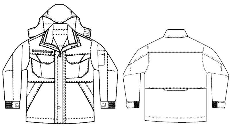 アイトス AZ8460 [秋冬用]エコノミー防寒コート[フード付き・取り外し可能] ハンガーイラスト・線画