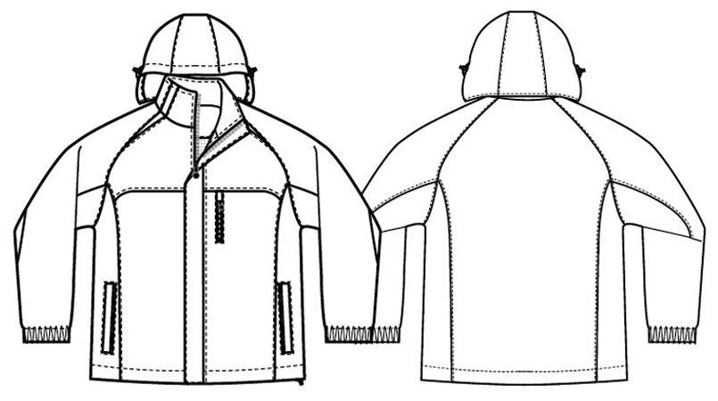 アイトス AZ8471 [秋冬用]業務用 防風防寒ショートコート[フード付・取外し可能] ハンガーイラスト・線画