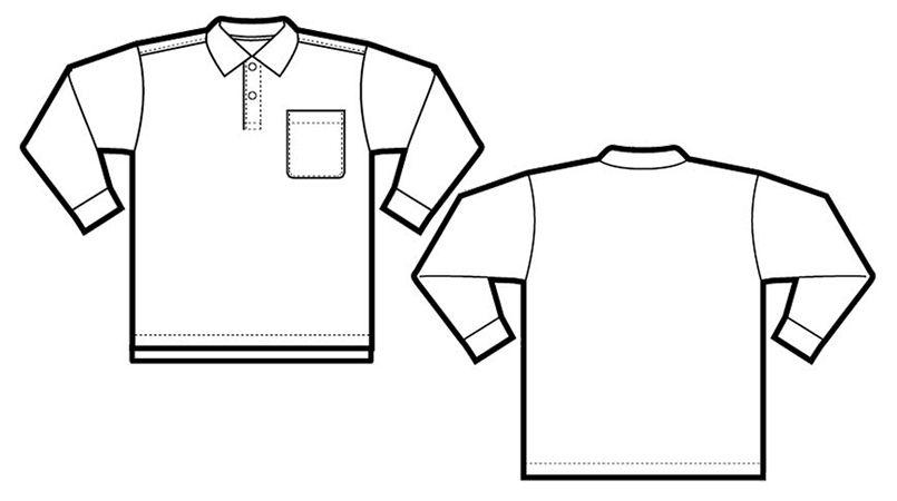 CL1001 アイトス 長袖クイックドライポロシャツ(男性用) ハンガーイラスト・線画