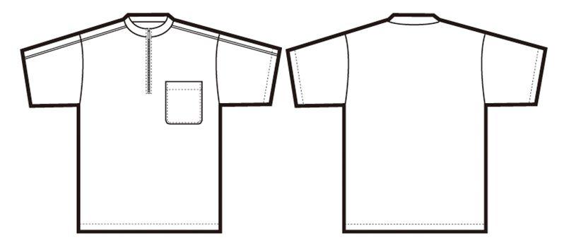 CL3000 アイトス 半袖クイック ドライジップ ポロシャツ(男女兼用) ニットパイピング ハンガーイラスト・線画