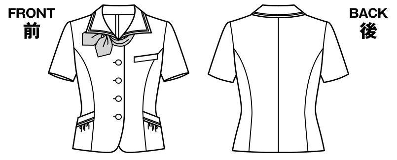 AJ0828 BONMAX/イリヤ オーバーブラウス チェック スカーフ付き ハンガーイラスト・線画