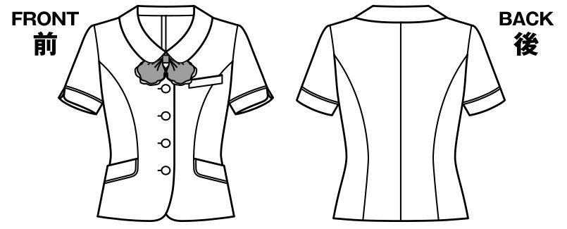 [在庫限り/返品交換不可]AJ0829 BONMAX/ジェニー オーバーブラウス(リボン付き) チェック ハンガーイラスト・線画
