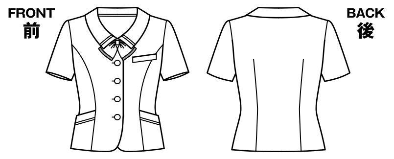 BONMAX AJ0830 [春夏用]ケイティー リボン付きオーバーブラウス チェック ハンガーイラスト・線画
