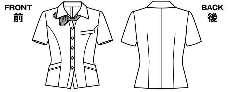 BONMAX AJ0831 [春夏用]ケイティー オーバーブラウス チェック スカーフ付き ハンガーイラスト・線画