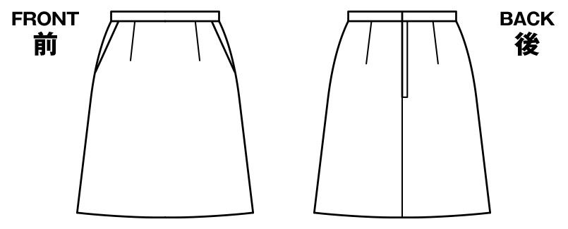 BONMAX AS2258 [通年]トリクシオンヘリンボーン  Aラインスカート 無地 2WAYストレッチ ハンガーイラスト・線画
