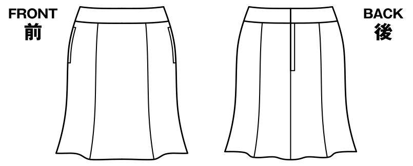 BONMAX AS2259 [通年]エクセラ マーメイドスカート ストライプ 2WAYストレッチ ハンガーイラスト・線画