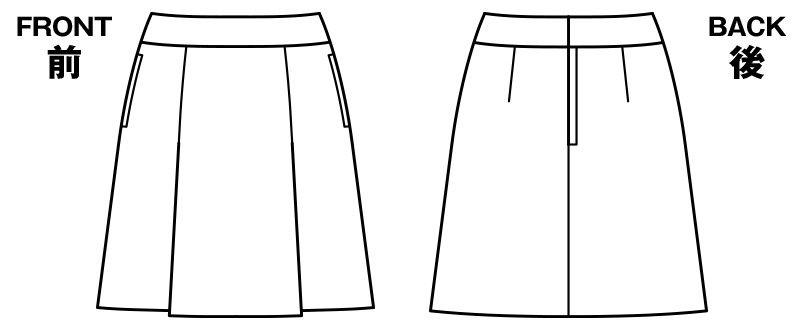 BONMAX AS2265 [通年]アドレ プリーツスカート 無地 ハンガーイラスト・線画