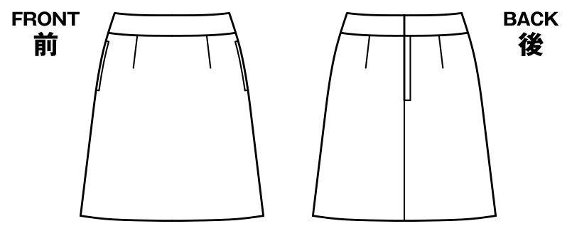 BONMAX AS2270 [通年]ベガ Aラインスカート ストライプ ハンガーイラスト・線画