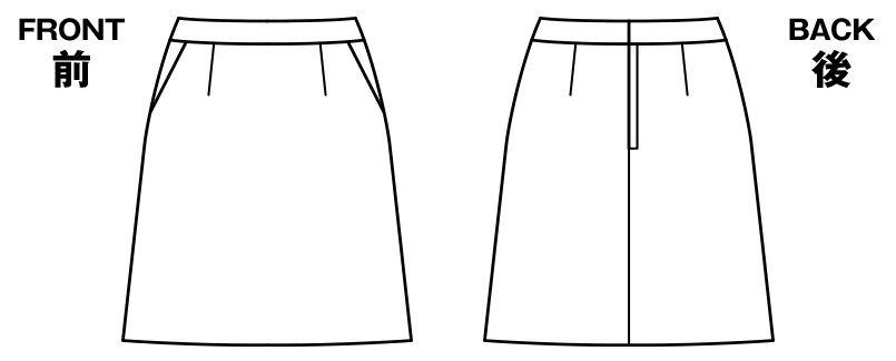 BONMAX AS2274 [通年]アウトラストA Aラインスカート ストライプ ハンガーイラスト・線画