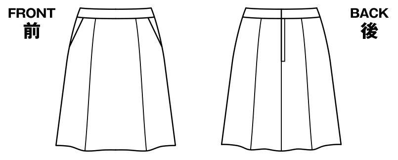 BONMAX AS2281 [通年]インプレス フレアースカート 無地[58cm] ハンガーイラスト・線画