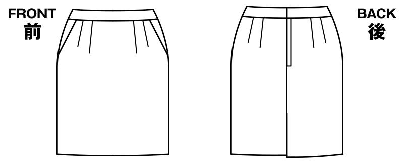 BONMAX AS2283 [通年]プログレス タイトスカート ストライプ[温度調整機能素材] ハンガーイラスト・線画