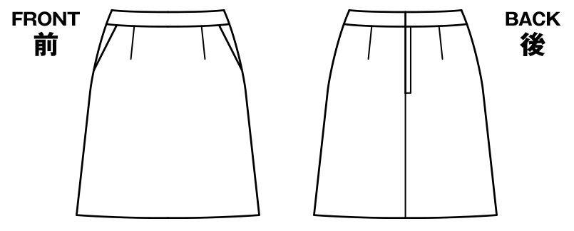 BONMAX AS2284 [通年]リアン Aラインスカート ストライプ ハンガーイラスト・線画