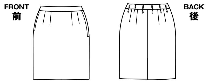 BONMAX AS2287 [通年]オピニオン タイトスカート ストライプ[後ろゴムでラク] ハンガーイラスト・線画