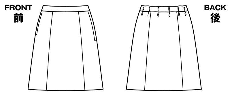 BONMAX AS2290 [通年]リゲル Aラインスカート ストライプ ハンガーイラスト・線画